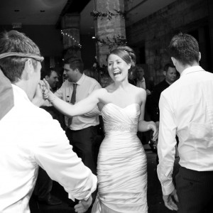 Black and white photo of wedding dancers