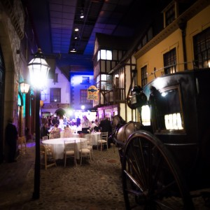 Victorian themed street with cart and lamps