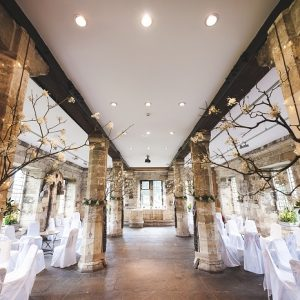 Interior of a historic building decorated for a wedding